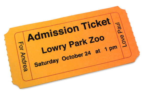 Admission Ticket Personalized