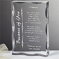 Because of You Personalized Keepsake