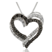 White and Black Diamond Heart Romantiic Jewelry