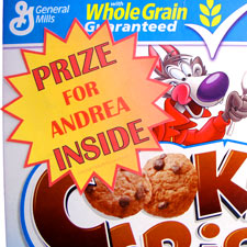 Cereal Box Prize Printable Label