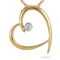 Gold Diamond Heart pendant romantic jewelry