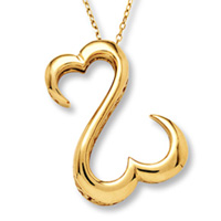 Open Hearts by Jane Seymour 14k gold pendant