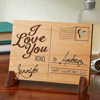 Sending Love Personalized Wood Postcard