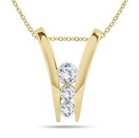 3 Diamond Gold Pendant