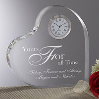 Engraved Heart Clock A Time For Love
