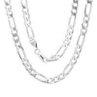 Figaro Diamond Cut Mens Necklace