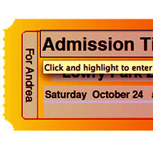 Admission Ticket Text