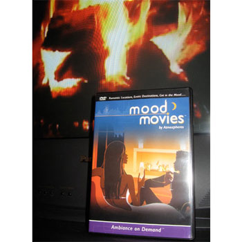 Romantic Mood Movies DVD in front of Fire